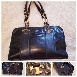 Vintage TORY BURCH Black Leather Satchel Bag